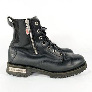 RED WING SHOES Black Leather Lace Up Boots Zip